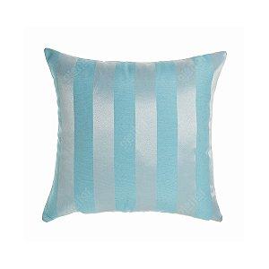 Capa para Almofada em Tecido Jacquard Azul e Prata Frozen Listrado