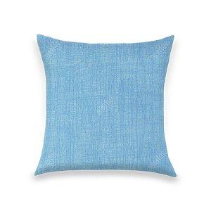 Capa para Almofada em Tecido Jacquard Estampado Liso Azul Turquesa