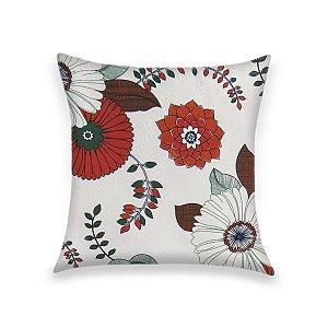 Capa para Almofada em Tecido Jacquard Estampado Floral Laranja