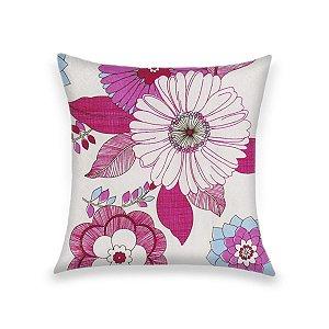 Capa para Almofada em Tecido Jacquard Estampado Floral Rosa