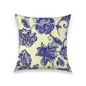 Capa para Almofada em Tecido Jacquard Estampado Floral Azul