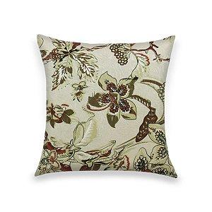 Capa para Almofada em Tecido Jacquard Estampado Floral Bege e Marsala