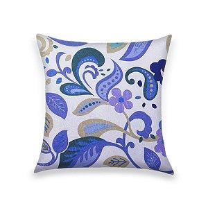 Capa para Almofada em Tecido Jacquard Estampado Floral Azul e Verde Fundo Branco