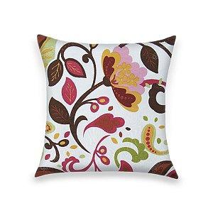 Capa para Almofada em Tecido Jacquard Estampado Floral Laranja e Verde Fundo Branco