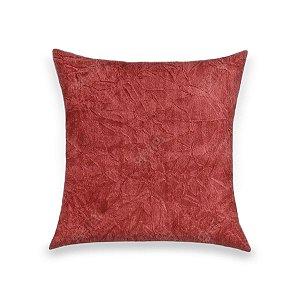 Capa para Almofada em Tecido Suede Amassado Vermelho