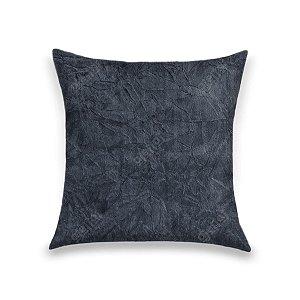Capa para Almofada em Tecido Suede Amassado Azul