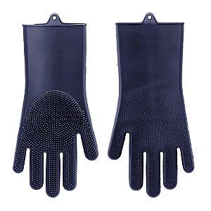 Kit Com 2 Luvas Em Silicone Azul