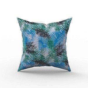 Capa de Almofada em Tecido Impermeável Acqua Linea Palm Azul