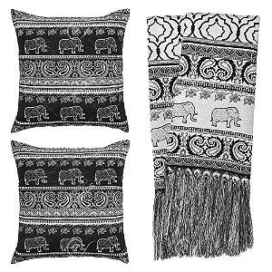 Kit Manta Rústica e Capa de Almofada para Sofá Indiano Preto e Branco