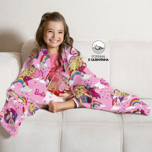 Manta Fleece de Sofá Estampada Barbie Reinos Mágicos – 1,25m x 1,50m