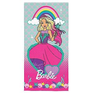 Toalha Aveludada Estampada Barbie Reinos Mágicos - 70cm x 1,40m