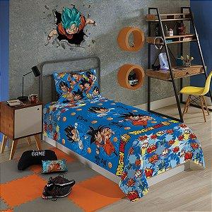 Jogo de Cama Microfibra Dragon Ball – 1,40m x 2,20m – 2 peças