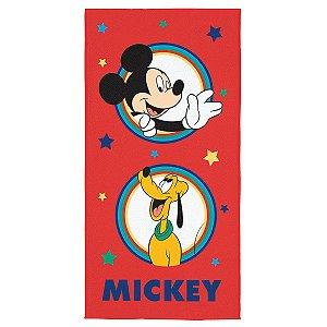 Toalha Aveludada Estampada Mickey - 70cm x 1,40m