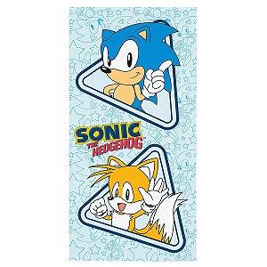 Toalha Aveludada Estampada Sonic - 70cm x 1,40m