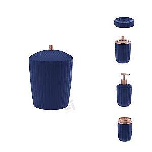 Kit Acessórios Para Banheiro Canelatta Azul 5 Peças