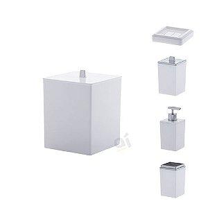 Kit Acessórios Para Banheiro Quadratta Branco 5 Peças