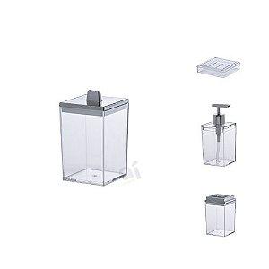 Kit Acessórios Para Banheiro Quadratta Transparente 4 Peças