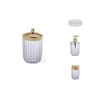 Kit Acessórios Para Banheiro Canelatta Transparente 4 Peças