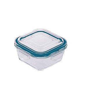 Pote Hermético De Vidro Quadrado Azul 320 ml