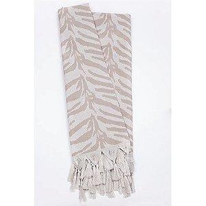 Manta Rústica para Sofá Zebra Bege e Branco
