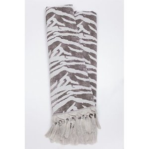 Manta Rústica para Sofá Zebra Cinza