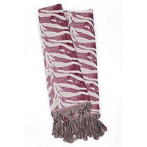 Manta Rústica para Sofá Zebra Vinho