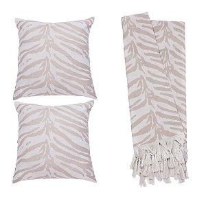 Kit Manta Rústica e Capa de Almofada para Sofá Zebra Bege e Branco