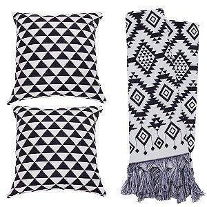 Kit Manta Rústica e Capa de Almofada para Sofá Geometria Ornamental Preto e Branco