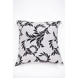 Capa De Almofada Para Sofá Folhas Preto e Branco