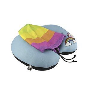 Almofada De Pescoço Com Capuz - Arco Iris