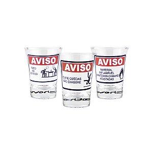 Cj 3 Copos Aperitivo Avisos: Material Inflamavel/Evite Quedas/Papo De Boteco 60Ml