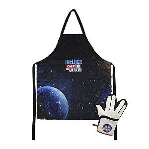 KIT MELHOR CHEF DAS GALAXIAS com avental e luva de cozinha