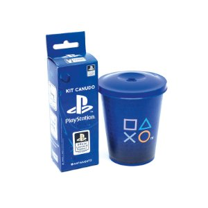 Copo 350Ml Com Canudo Playstation