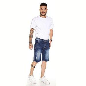 Bermuda Masculina Jeans Azul com Lavagens Ref: 10761
