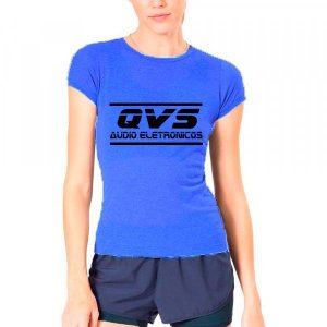 Camiseta Azul Qvs BabyLook Tamanho G