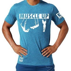 Camiseta Muscle Up para Treino/Academia/Crossfit/Funcional Azul Claro Tam G - Enforce Fitness