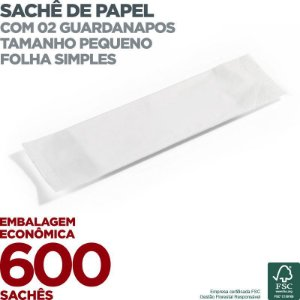 Guardanapo em Sachê de Papel Pequeno - 2 Guardanapos - Folha Simples - 22x19cm - 600 Sachês - Scala Papéis