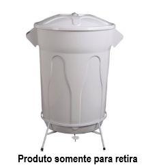 Cesto Lixo Branco com Armação e Pedal - 60 Litros