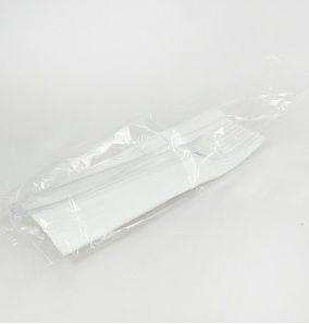 Kit Garfo, Faca e Guardanapo Master Reforçado Branco Elite Plastic