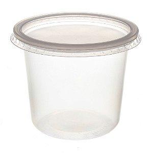 Pote Plástico PP 350 ml Redondo Kit com Tampa para Freezer e Microondas - Orleplast
