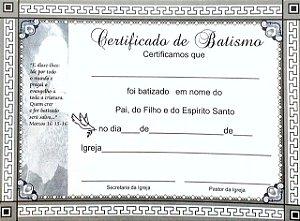 CERTIFICADO DE BATISMO PEQUENO CINZA COM PACTO