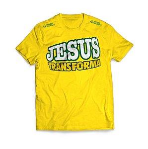 CAMISETA JESUS TRANSFORMA AMARELA TRADICIONAL G JMN