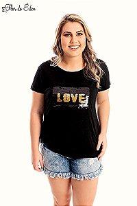 Blusa Plus Size Feminina Em Viscose Com Aplicacao De Lantejoulas