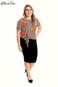 Blusa Plus Size Feminina Em Viscolycra Estampada