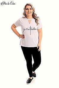 Blusa Plus Size Feminina Em Viscolycra Com Silk Gratidao