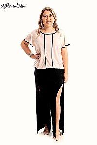 Calca Plus Size Feminina Com Abertura Lateral E Cintura Alta