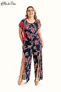 Calca Plus Size Feminina Estampada Com Abertura Lateral E Cintura Alta