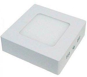 Luminária Plafon 6w LED Sobrepor Quadrado Branco Frio 6000k