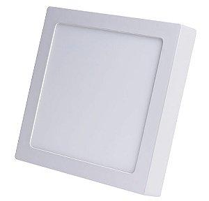 Luminária Plafon 12w LED Sobrepor Quadrado Branco Quente 3000k