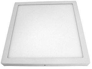 Luminária Plafon 40x40 36w LED Sobrepor Quadrado Branco Frio 6000k